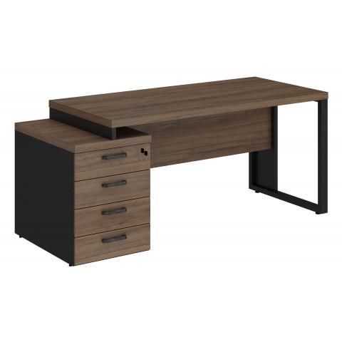 Móveis para Escritório: Mesa diretor dinâmica pé quadro, com gaveteiro pedestal 04 gavetas, Start - Gebb Work