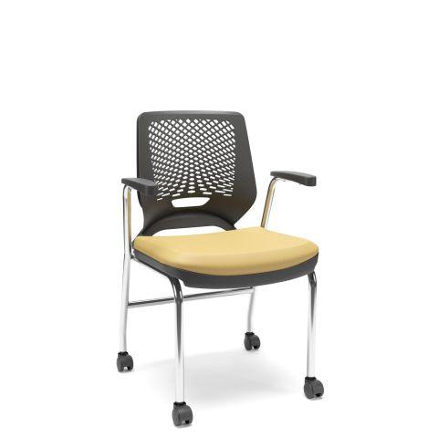 Móveis para Escritório: Cadeira fixa 04 pés com rodízio, Beezi - Plaxmetal