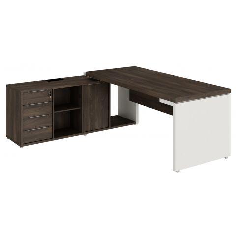 Móveis para Escritório: Mesa diretor dinâmica em L com armário pedestal, Edge - Gebb Work