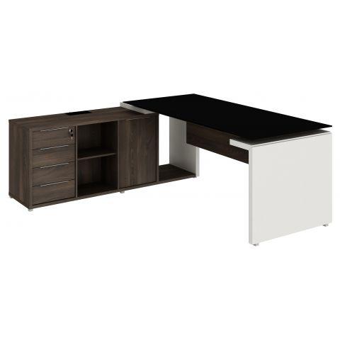 Móveis para Escritório: Mesa diretor dinâmica em L, com tampo de vidro, Edge - Gebb Work