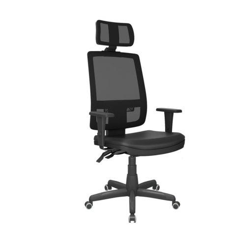Móveis para Escritório: Cadeira Brizza tela presidente com apoio de cabeça, Plaxmetal