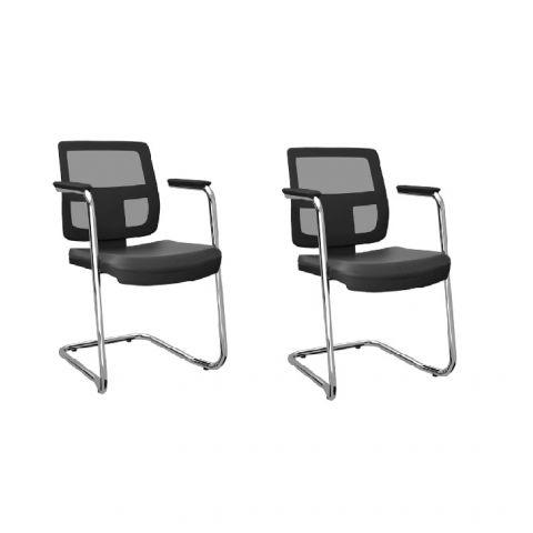 Móveis para Escritório: Conjunto de cadeira Brizza aproximação em S, Plaxmetal