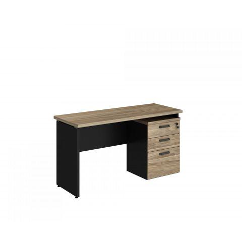 Móveis para Escritório: Mesa retangular dinâmica e extensível, com gaveteiro pedestal 02 gavetas e 01 pasta Yaris - Gebb Work